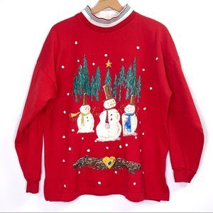 Vintage Snowman Collared Ugly Christmas Sweater